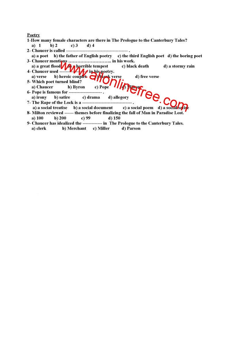 MCQS on English Lecturership Written Test Exam   Daily Based